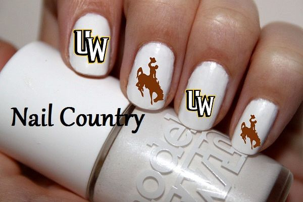 50pc University Of Wyoming Cowboys Football Nail Decals Art Stickers Best Price Nc420