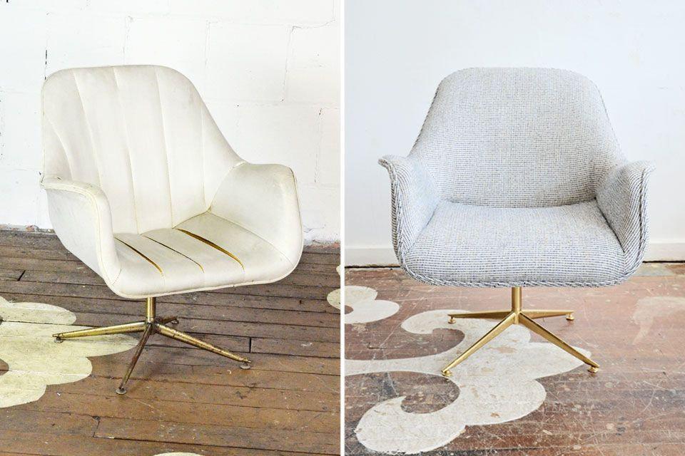 This Vintage Swivel Desk Chair Cleaned Up So Beautifully We Reupholstered It Simply Without