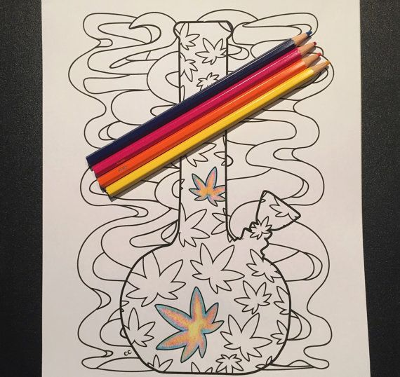 Marijuana leaf covered bong coloring page from color me cannabis by chronic crafter color me - Coloriage feuille de cannabis ...