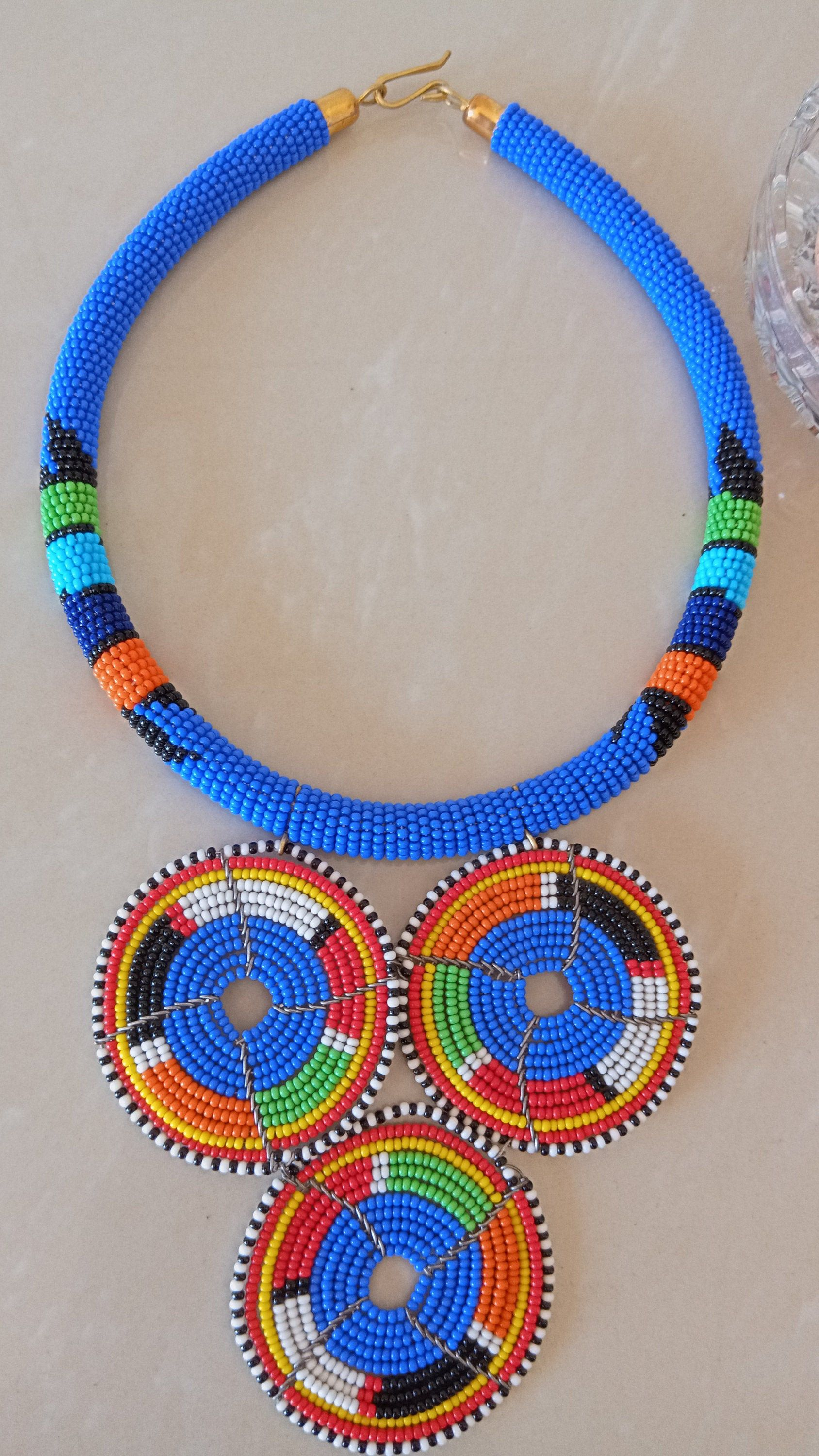 Blue and beaded necklace Christmas gift for her Zulu Beaded necklace ON SALE African beaded necklace Moms gift Beaded jewelry for women