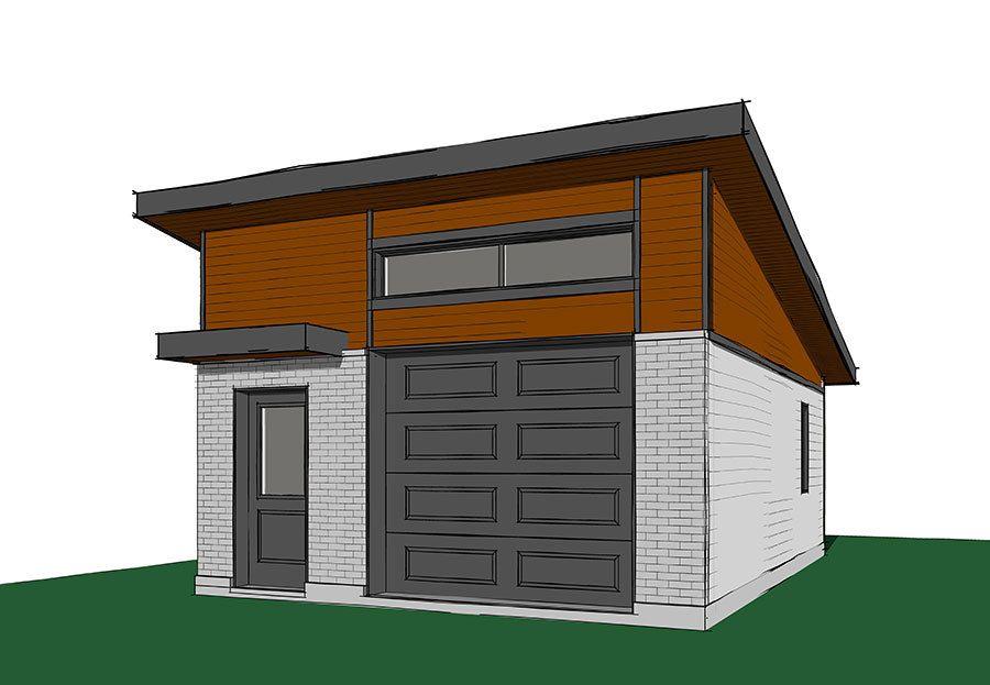 Plan 22447dr One Car Modern Garage Plan With Man Door Modern Garage Garage Design Garage Plan
