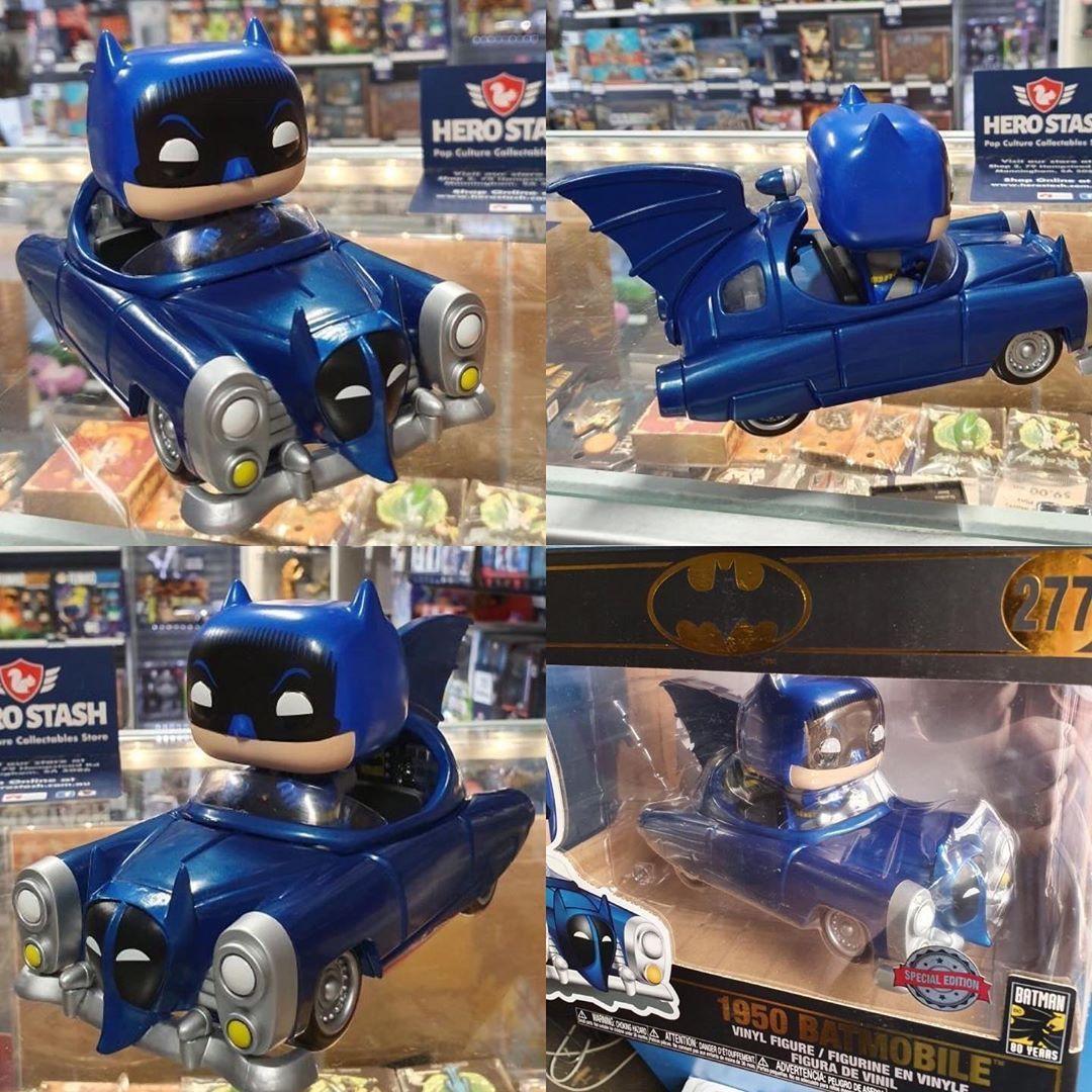 Rides: Batman 80th Exclusive Funko Pop Blue Metallic 1950 Batmobile Multicolor