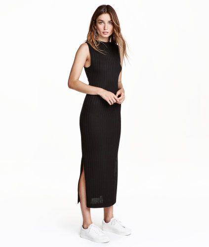 Geripptes Kleid | Schwarz | Damen | H&M DE | fashion - put it on on ...