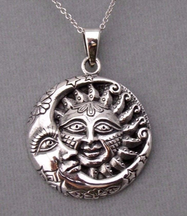 Sterling silver sun and moon charm chain necklace 925