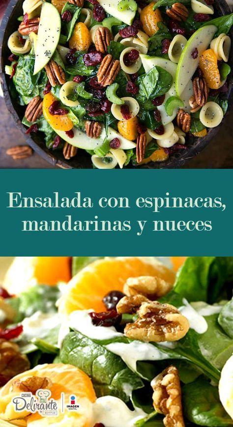 Ensalada con espinacas, mandarinas y nueces para navidad is part of Healthy salads - Preparación1  MEZCLA el aceite, vinagre de sidra de manzana, vinagre de vino blanco, azúcar, el pimentón, la cebolla en polvo y la chía 2  COLOCA las nueces sobre una cacerola sin añadir nada a fuego medio y revuelve constantemente por un par de minutos 3  COMBINA en un bowl la espinaca (lavada y desinfectada) con el apio picado  Incorpora los arándanos y los gajos de las mandarinas 4  AÑADE las manzanas en rodajas finas  Mezcla con jugo de limón y luego agrega a la ensalada  Incorpora las nueces
