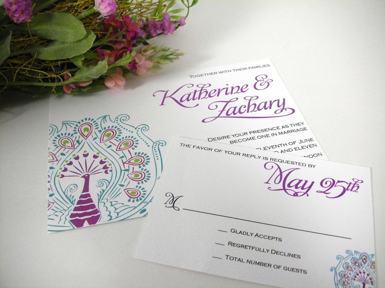 Peacock colorful invitations peacock wedding