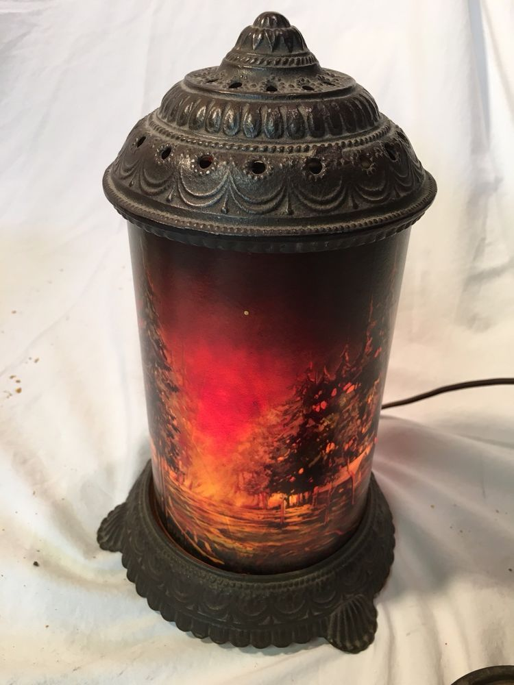 Scene In Action Forest Fire Motion Lamp Vintage 1950s Works Forest Fire Lamp Vintage Lanterns