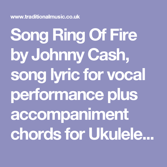 Song Ring Of Fire by Johnny Cash, song lyric for vocal performance ...