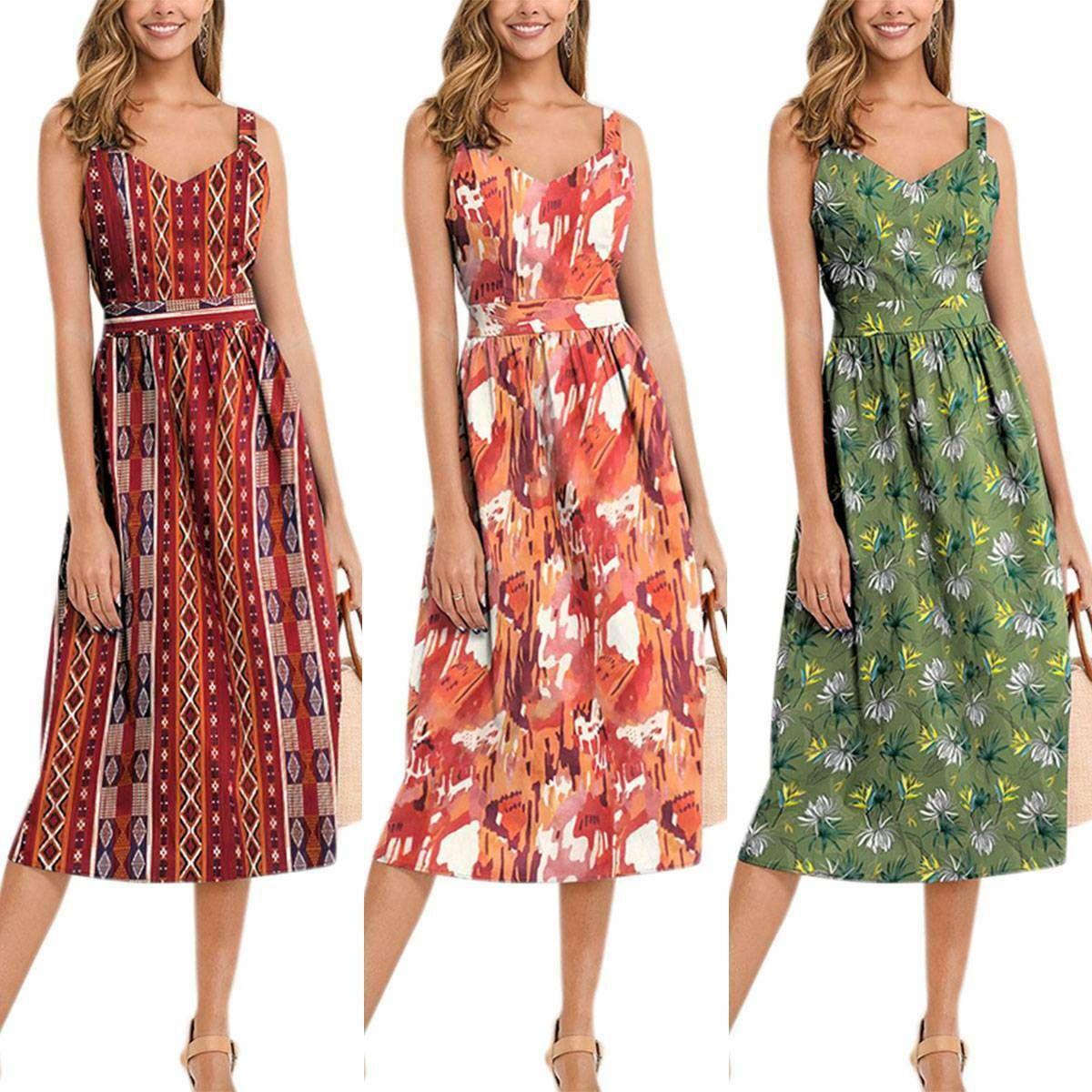 Boho Women Floral V Neck Cami Sleeveless Swing Midi Dress Holiday Party Clubwear Floral Dresses Sho Midi Dress Sleeveless Midi Swing Dress Clubwear Dresses [ 1200 x 1200 Pixel ]