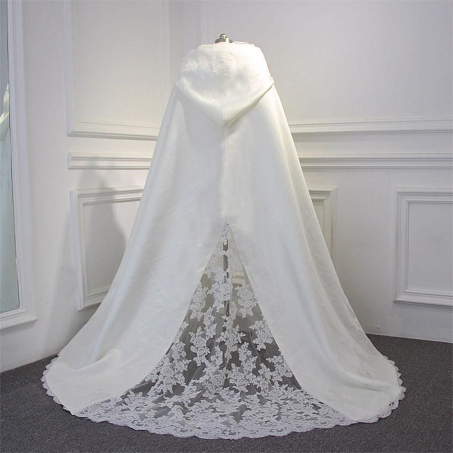 Hooded lace panel u trim full length hooded wedding cape wedding