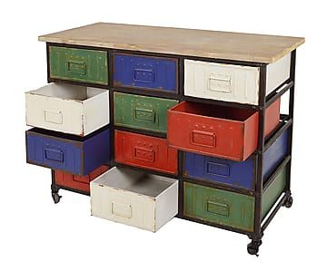 Mueble auxiliar de hierro con 12 cajones y ruedas multicolor comprar pinterest Mueble auxiliar con ruedas