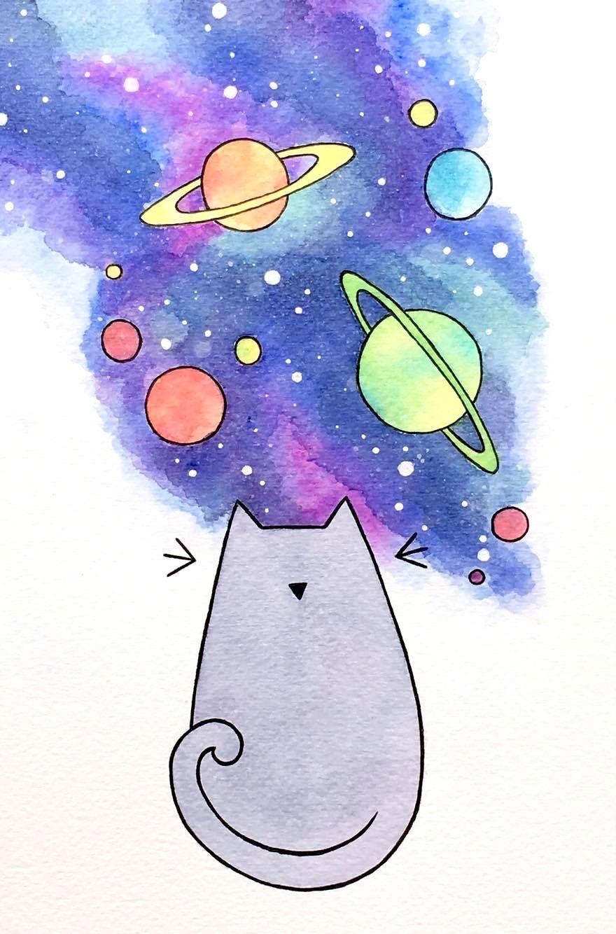Maxine Sarah Art Space Cat Desenhos Aquarela Ilustracoes De Gato