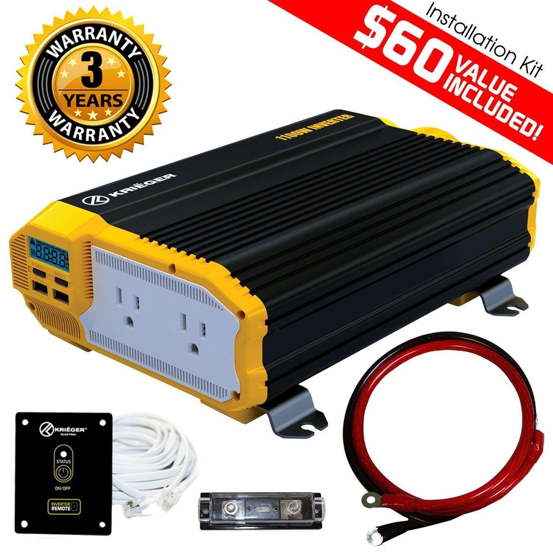 Krià Ger 1100 Watt 12v Inverter Dual 110v Ac Outlets Installation Kit Included Automotive Back Up Supply For Blenders Vacuums Tools Met