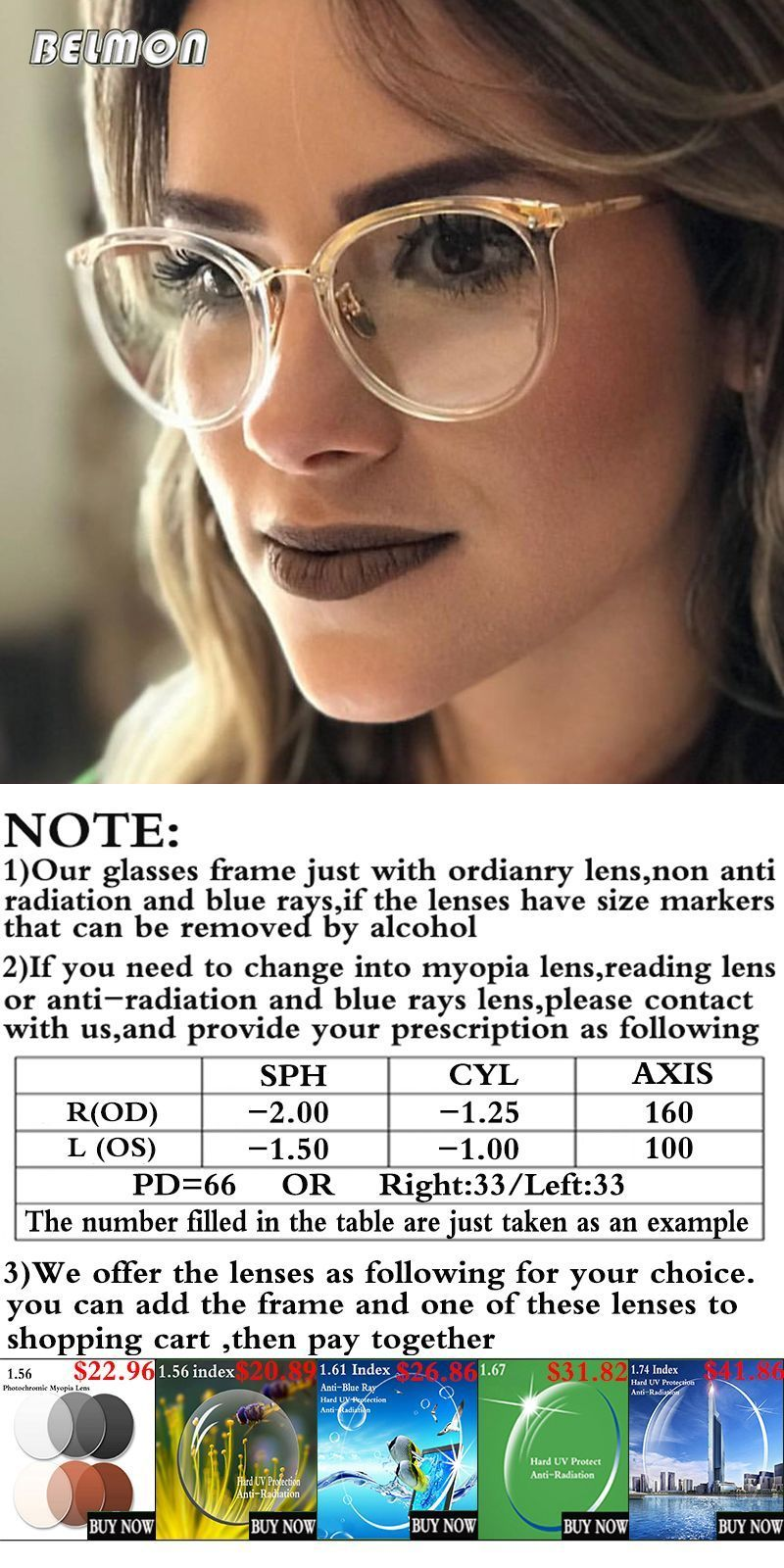 94301a48a965 Spectacle frame women eyeglasses computer prescription myopia optical for  female eyewear clear lens glasses frame rs522