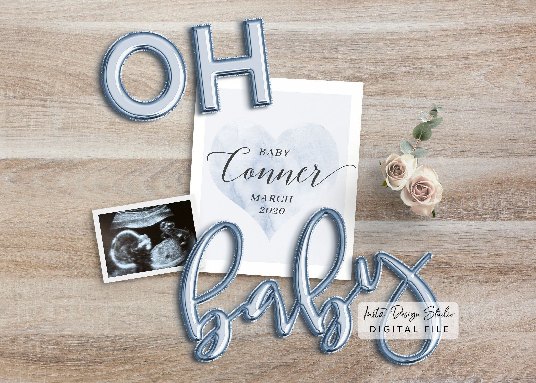 its a girl PERSONALIZED social media pregnancy announcement digital custom baby announcement gender reveal instagram due date balloon letter