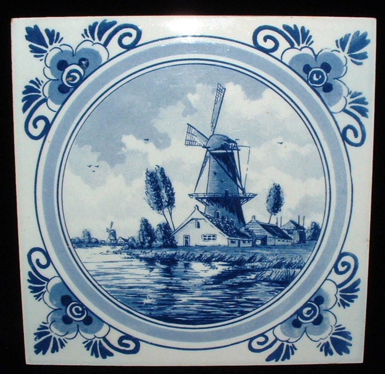 Delft Tile Delfts Windmill Canal Holland Vintage Dutch