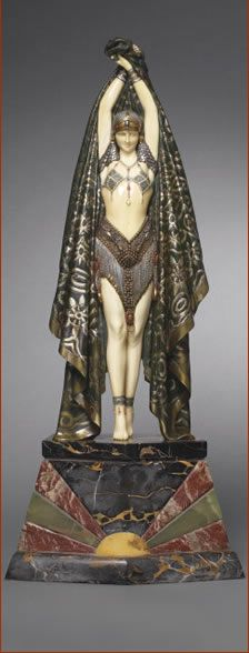Art Decó Actinea Bronze and Ivory Figurine (1925) by Demetre Chiparus, American