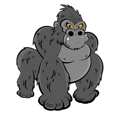 Amusing Gorilla Cartoon Styles Vector 05 Jpg 500 215 500