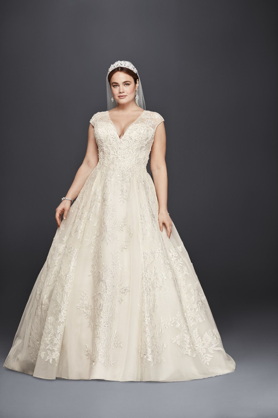 Plus Size V Neckline Cap Sleeve Ball Gown Wedding Dress By Oleg Cini Available At David S Bridal