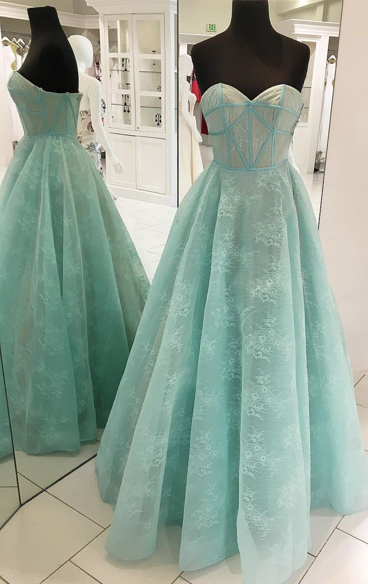 Princess sweetheart mint green lace long prom dress dresses