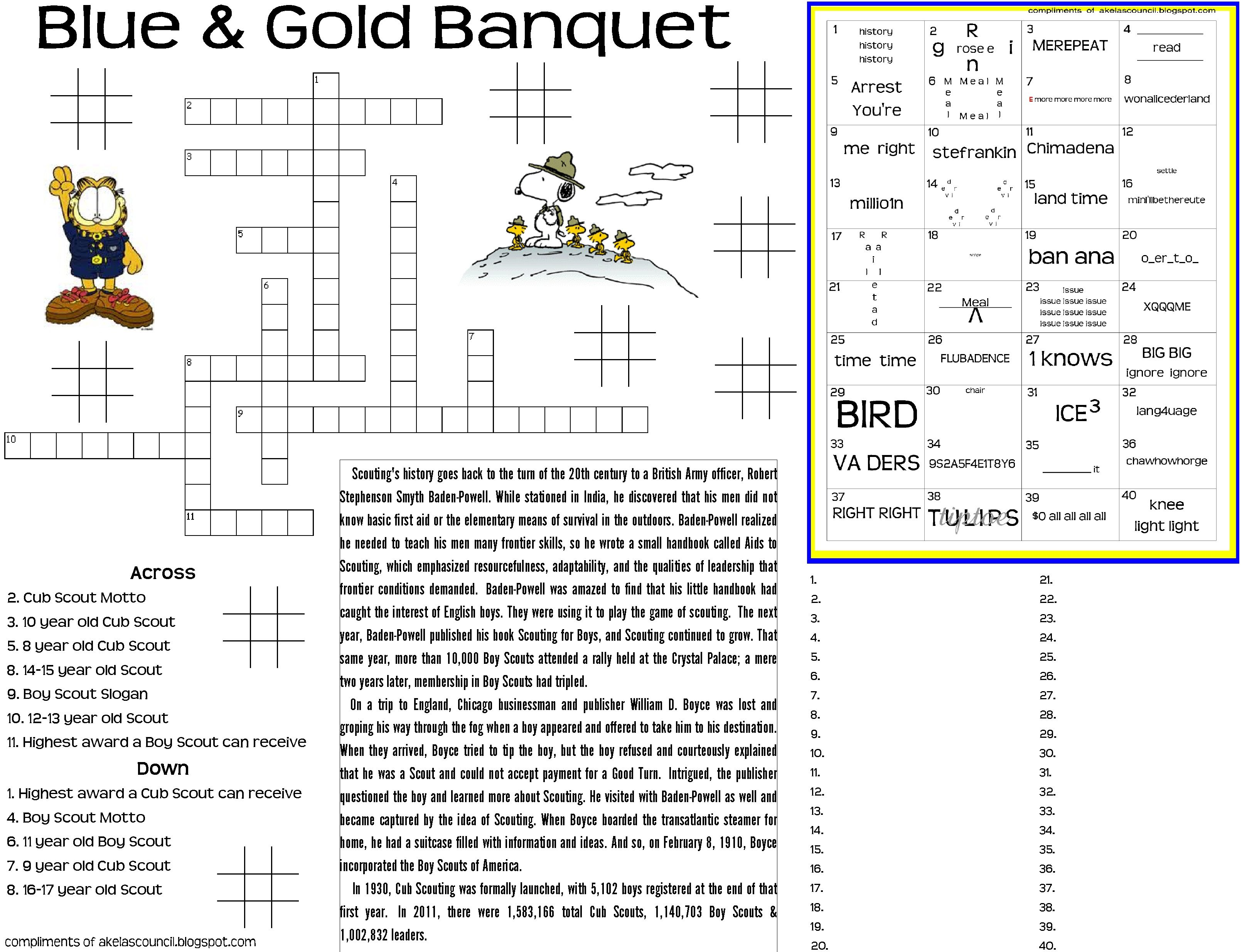worksheet Rebus Puzzle Worksheets blue gold puzzle placemat 8 5x11 high quality jpg and banquet dinner preopener printable worksheet for the cub scout crossword cub