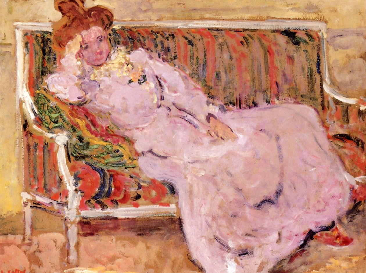 louis valtat(1869-1952), woman on a sofa, 1901. oil on board, 57.79 x 75.88 cm. private collection. http://www.the-athenaeum.org/art/detail.php?ID=24294
