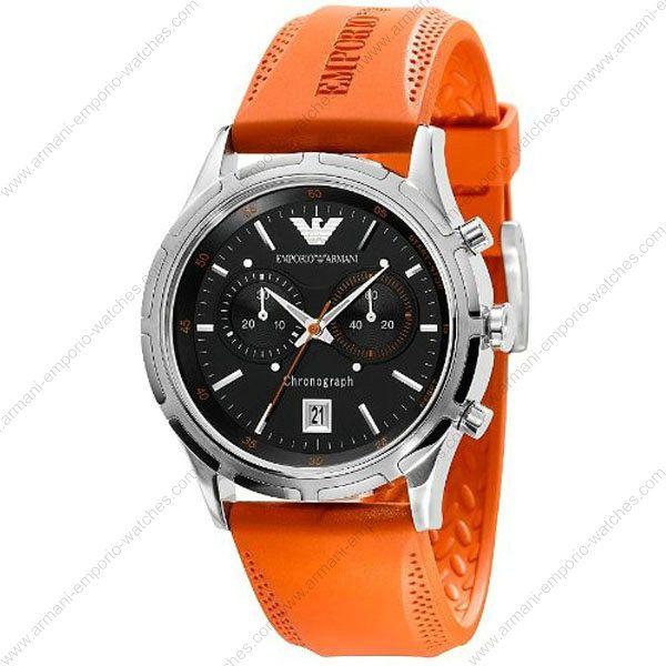 f4b507f364ede Emporio Armani AR5849 - Mens Chronograph Orange Strap Sports Watch ...