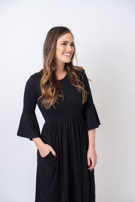 The Brenna Black Dress With Flared Sleeve Whitney Bsb Dresses Wedding Dress With Pockets Black Dress [ 1498 x 1000 Pixel ]