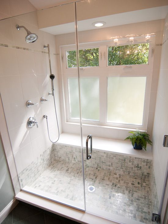 Bathroom Design Like The Wider Shower Stall And Placement Of Bench Seat On The Long Side