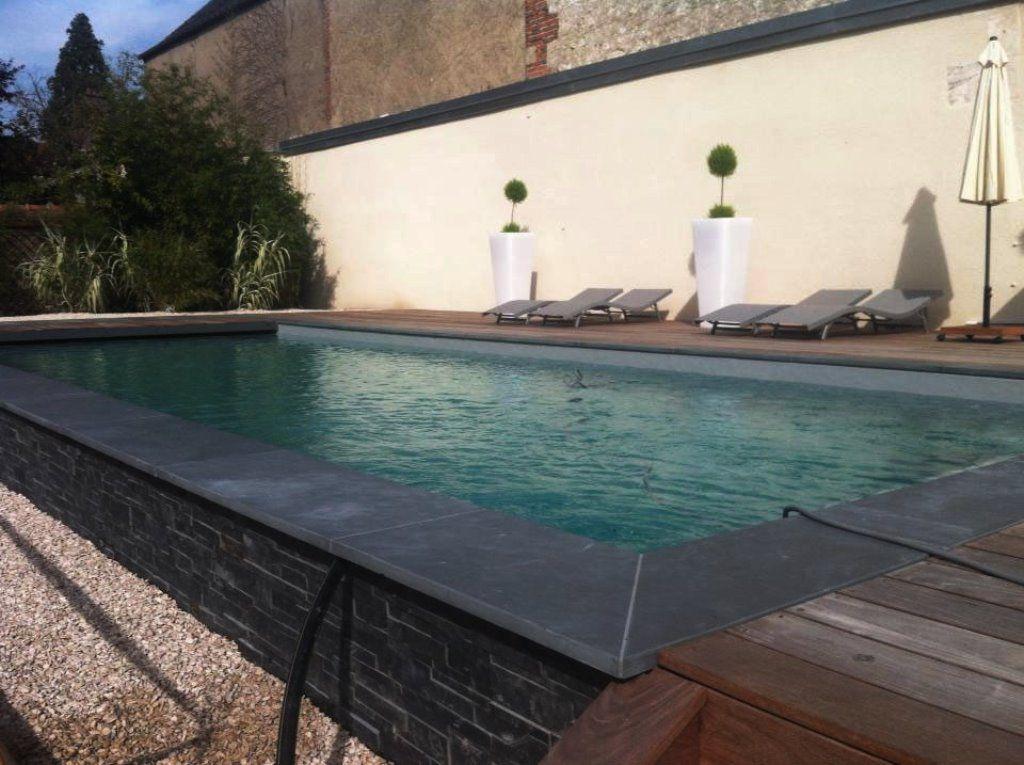 Aménagement piscine avec margelles en ardoise noire Ardoise - photo d amenagement piscine