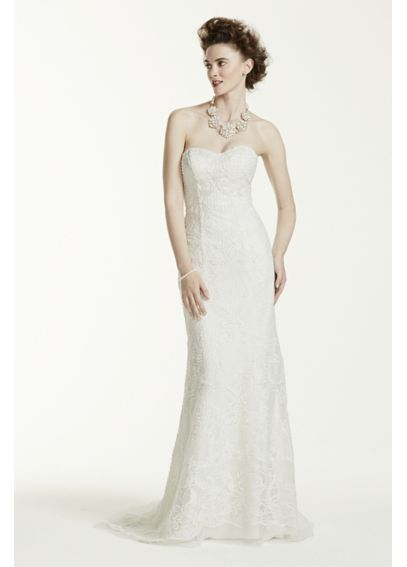 Oleg Cassini Lace Wedding Dress with Pearl Beads CWG641 | CaffBash ...