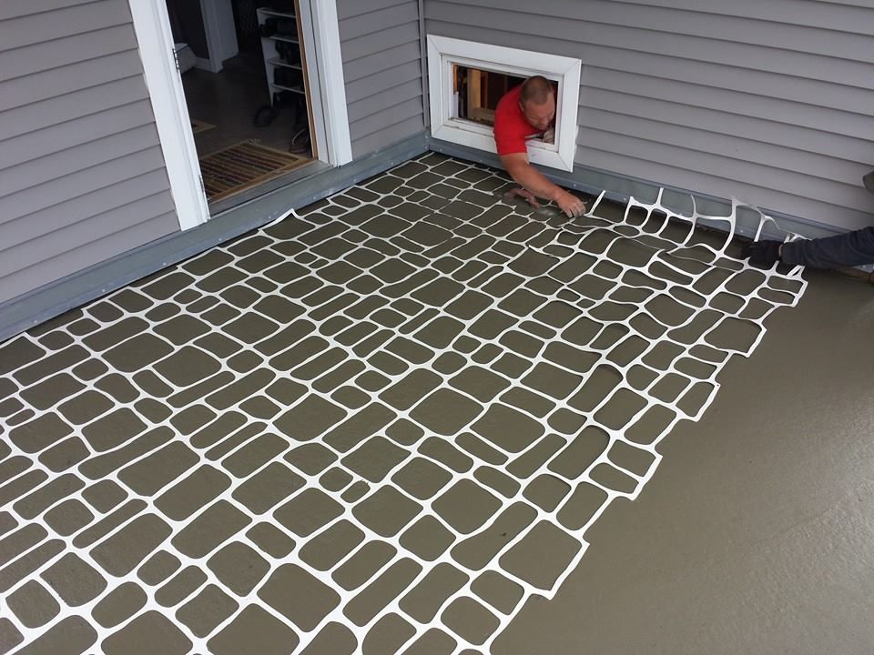 Austrian Cobblestone Stencil Concrete Patio Designs Patio Design Concrete Wood Floor