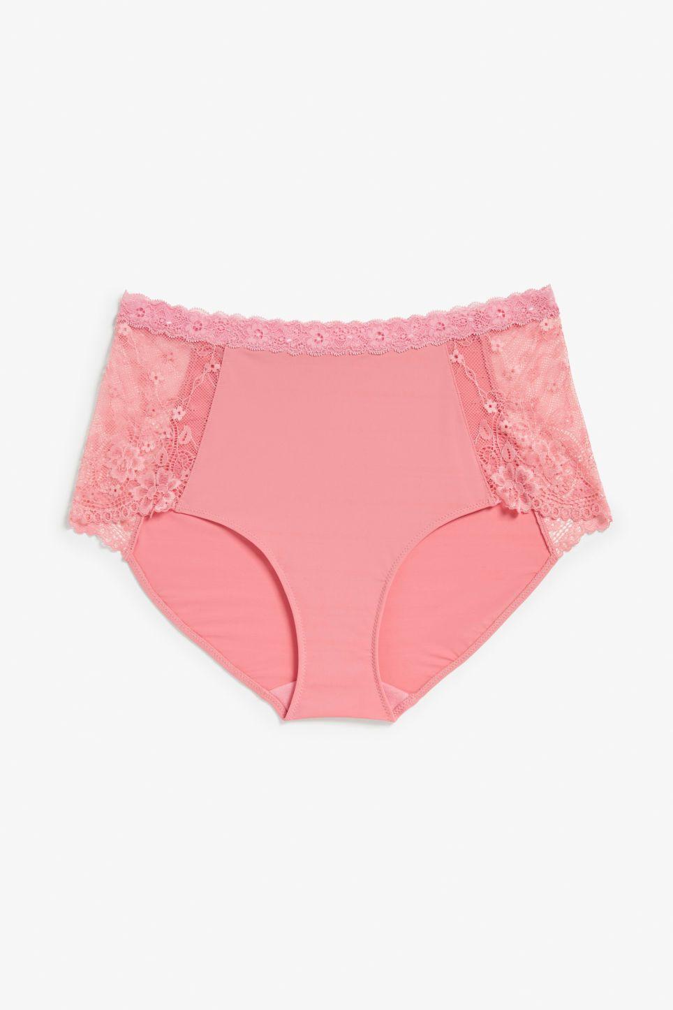 8f9edbd13b Lace panel high waist briefs - Blush bae blush pink - Underwear - Monki FR