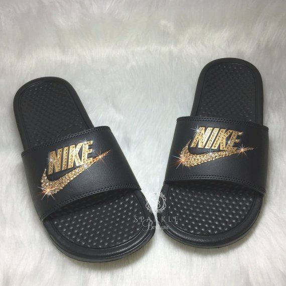 fcc1513c8d50ba Nike Slides Nike Sandal Bling Women s Nike Bedazzled with GOLD Crystals All  Sizes Sparkly Nike Slide