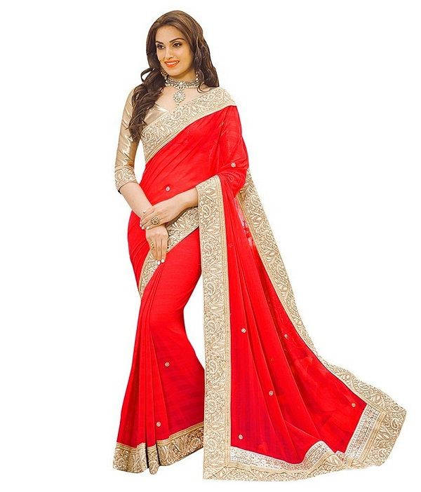 1453e768903bd Shop Online Georgette Border Work Red Plain Saree - T6   Rs.711 at  Indiarush. Best Discount ✓ Cash on Delivery ✓ Free Shipping✦ ✓15 Days  Return ✓ All ...