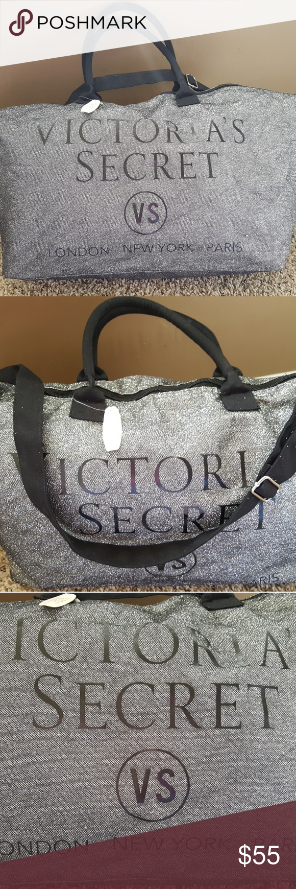 Victoria/'s Secret Limited Edition black silver Sequin clutch purse New with tag