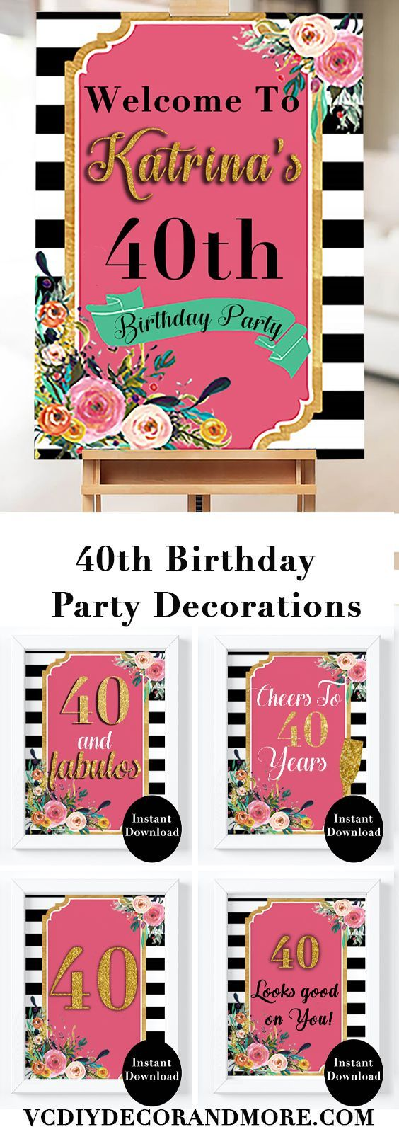 Celebrate Women Turning 40 With This 40th Birthday Party Decorations Combo Set These Printable