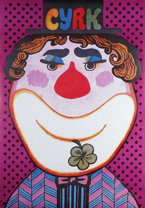 Clown z koniczynka  Polish Cyrk poster  designer: Bohdan Bocianowski  year: 1980