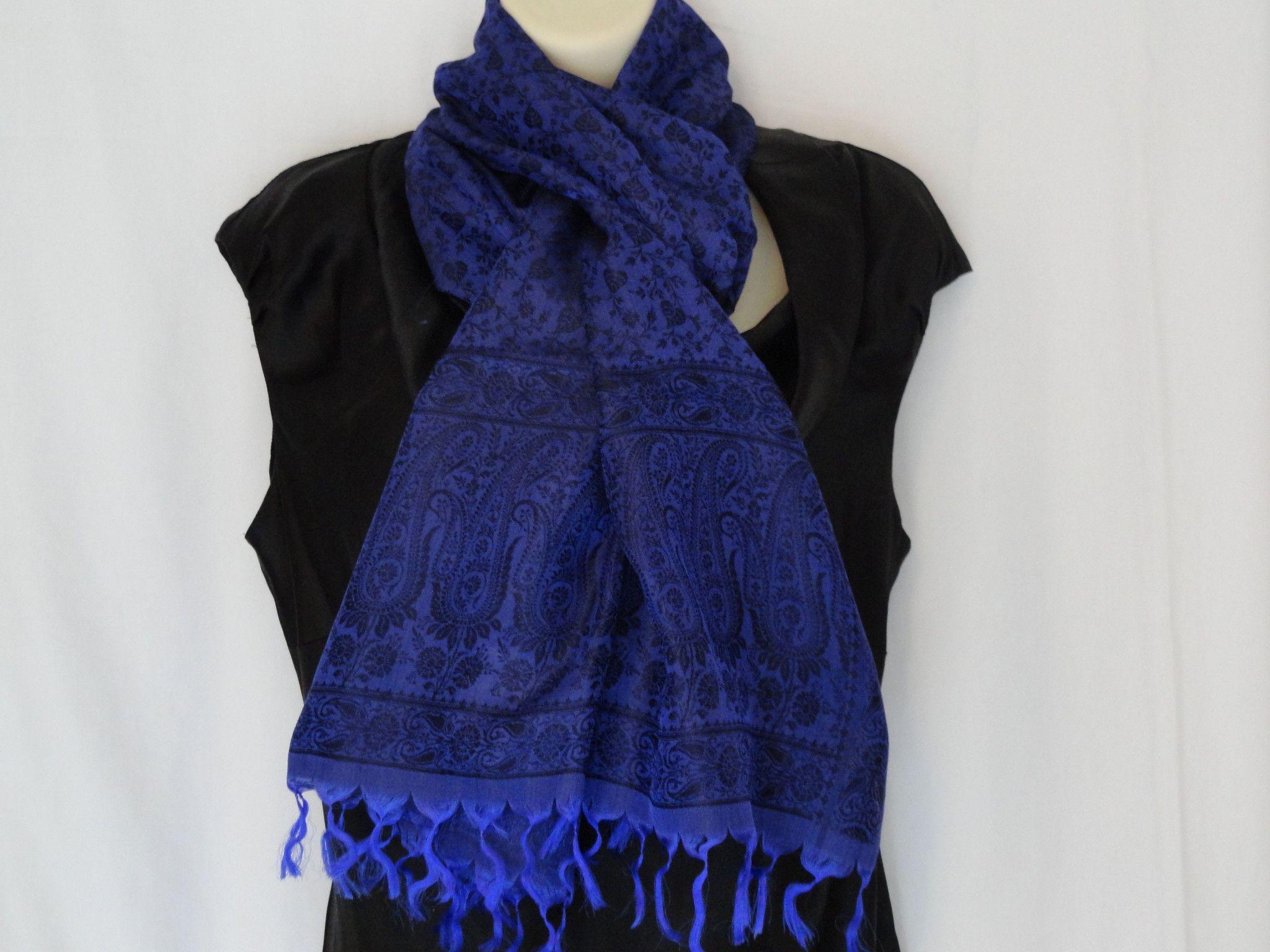 ethnic indian silk scarf indian silk shawl ink blue