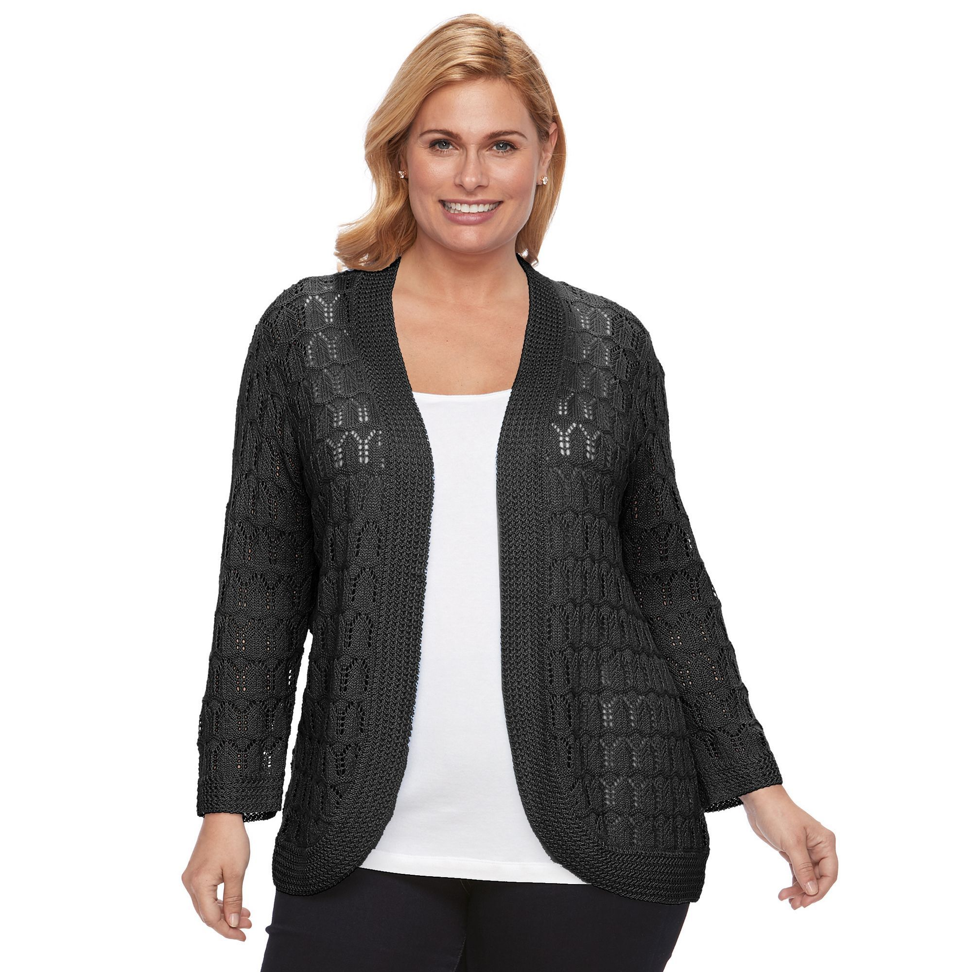 Plus Size Napa Valley Crochet Open-Front Cardigan, Women's, Size ...