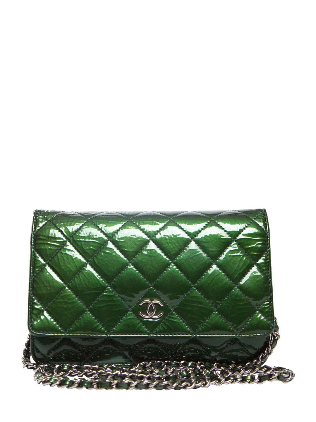1f163392dd5939 Chanel | Green Patent Leather Wallet on a Chain) | // Chanel ...