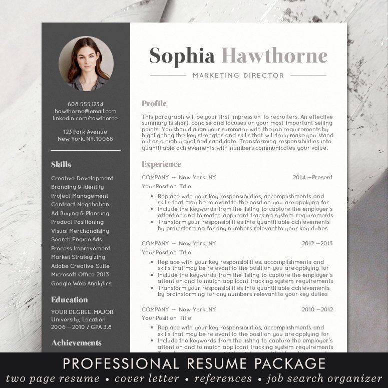Professional Resume Template With Photo Modern Cv Word Mac Pages Free Cover Letter Teacher Instant Download The Sophia Resume Template Resume Template Professional Cv Words
