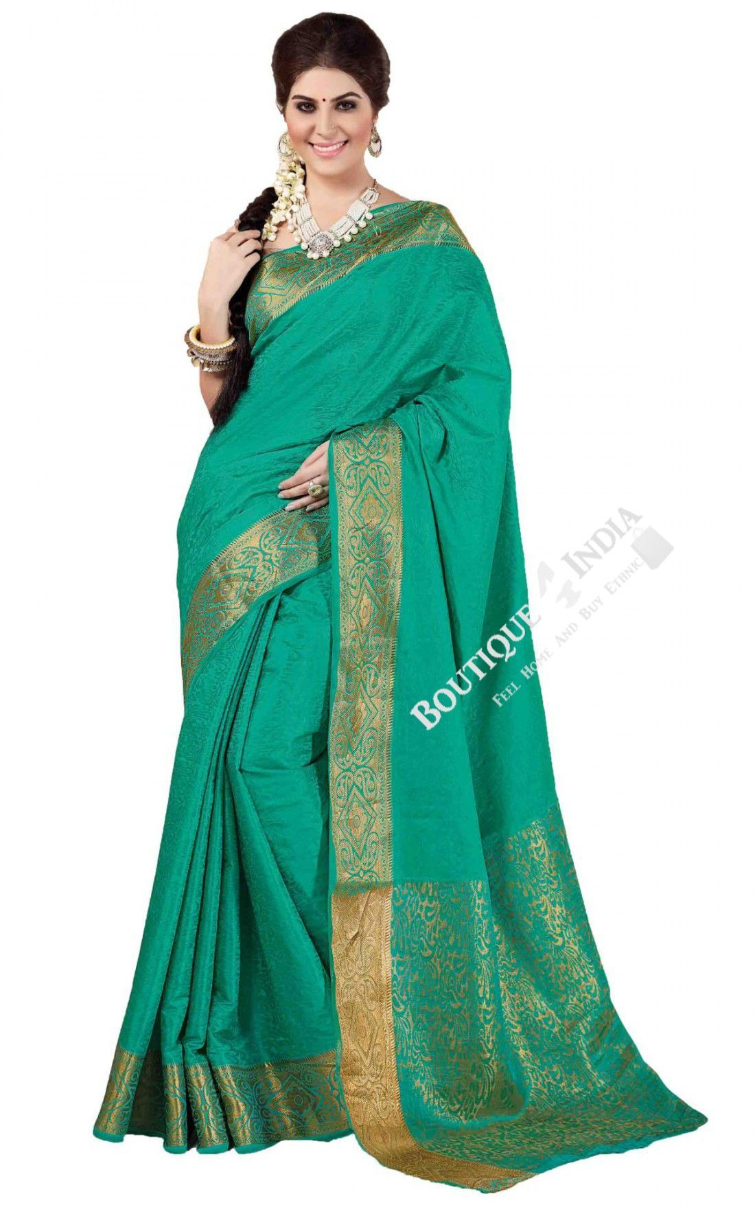 Sari wedding dress  Sarees  Turquoise With Golden Jarri Silk Saree Collections