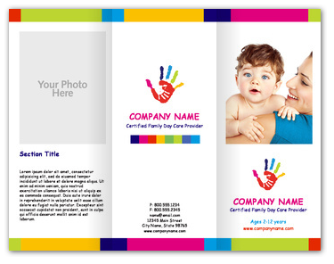 Hand paint childcare brochures youprint dtp ideas for Child care brochure template free