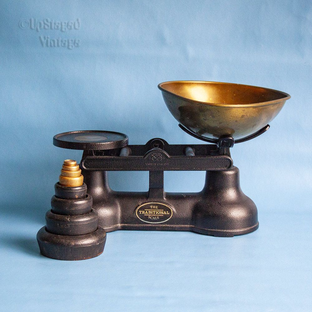 Vintage English Salter The Traditional Scale Cast Iron Kitchen Scales Imperial Weights Kitchen Scale Traditional Vintage