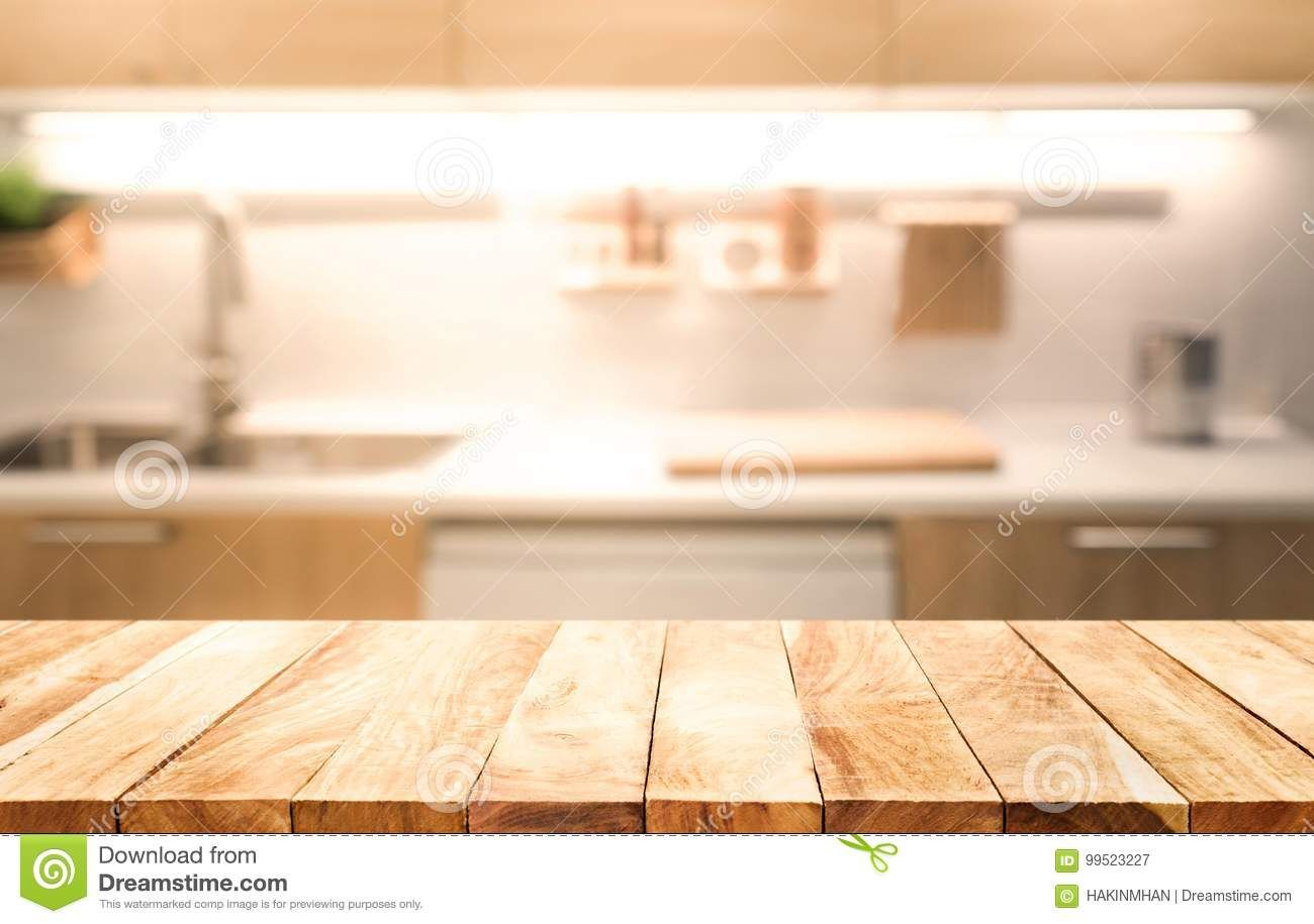 Wood Table Top On Blur Kitchen Room Background Cooking Concept Wood Table Table Top Design Wood Table Top
