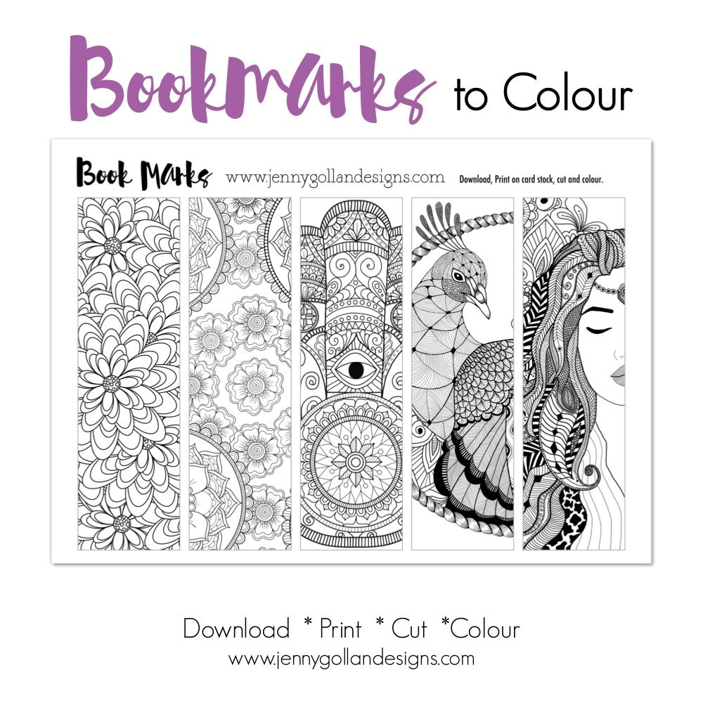 valentine bookmarks to color : Colour Your Own Bookmarks Printable Template