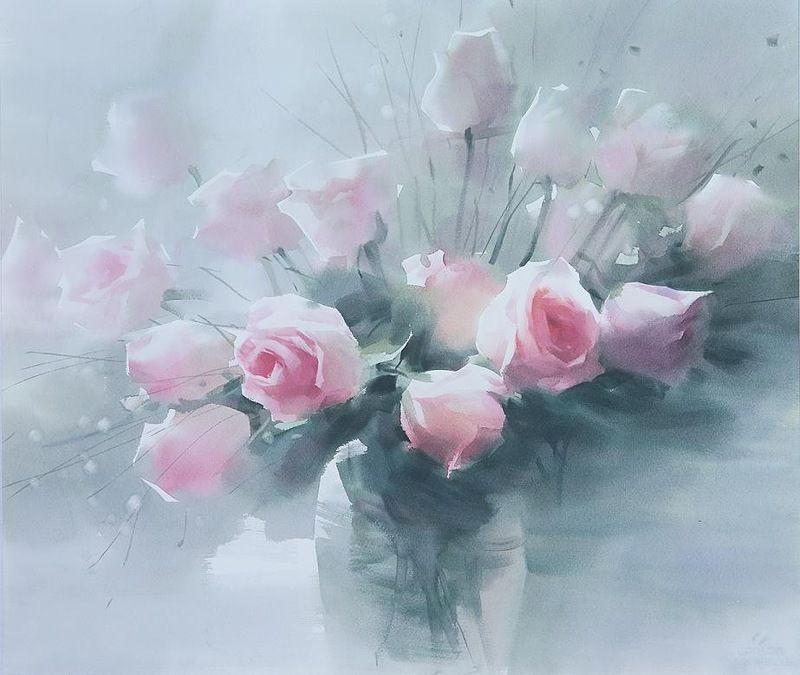 Liu Yi Peinture Fleurs Aquarelle Fleurs