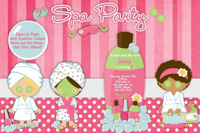 Spaslumber party Birthday Invitation spa party – Girls Spa Party Invitations
