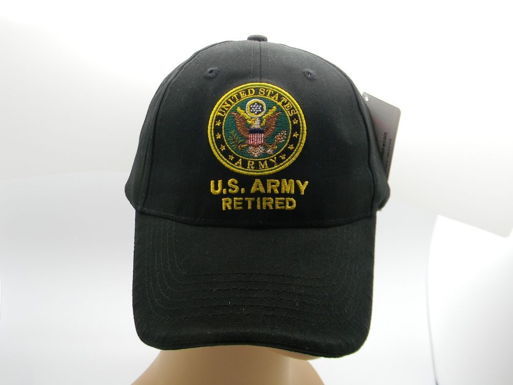 cea1c70591f U S Army Retired Cap Hat Black Embroidered Crest Adjustable Back New  Military  MILITARY  BaseballCap